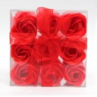 Estuche de 9 Rosas de Jabón Rojas