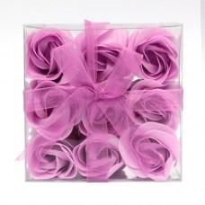 Estuche de 9 Rosas de Jabón Violetas