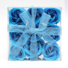 Estuche de 9 Rosas de Jabón Azules