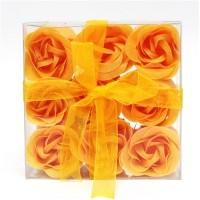 Estuche de 9 Rosas de Jabón Naranjas
