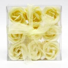 Estuche de 9 Rosas de Jabón Amarillas